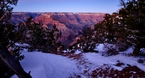 Snowy Grand Canyon Sunset Arizona USA