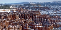 Snowy hoodoos in Bryce Canyon National Park UT