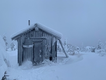 Snowy little cabin in Posio Finland - photo credit to alexstubb former prime minister of Finland