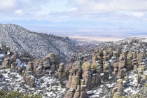 Snowy morning out amongst the Hoodoos Chiricahua National Monument Arizona