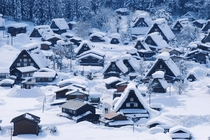 Snowy morning Shirakawa-go Japan