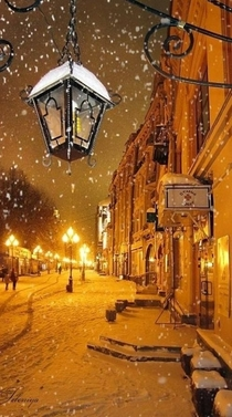 Snowy night in Lyon France