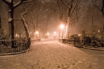 Snowy night in New York