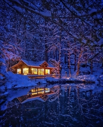 Snowy night in Switzerland