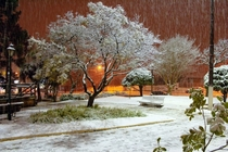 Snowy night in the square Canoinhas SC Brazil