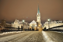 Snowy night in Zurich Switzerland