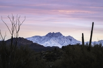 Snowy pastel morning at Four Peaks Arizona -