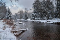 Snowy river in the West Virginia Highlands