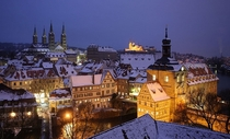 Snowy rooftops in Bamberg Germany