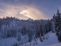 Snowy Sunset in Lassen Volcanic National Park in Northern California