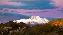 Snowy sunset on Four Peaks AZ