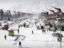 Snowy winter in Kabul City Afghanistan