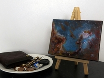 So recently Ive been trying to paint nebulae and other spacey goodness on these mini canvases canvae canvaii Whatever P This is my favourite so far