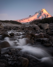 Soaking up an early winter sunrise - Mt Hood OR
