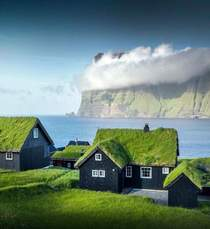 Sod roofs in the Faroe Islands