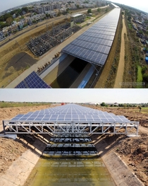 Solar panels being integrated into canals in India giving us Solar canals it helps with evaporative losses doesnt use extra land and keeps solar panels cooler