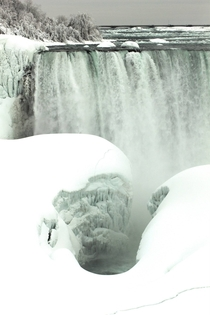 Solid ice buildup at Niagara Falls Ontario