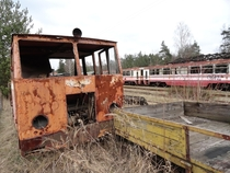 Some abandoned narrow-gauge railway trains