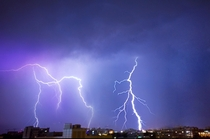 Some long exposure of lighting strikes in Bucharest