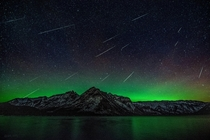 Some meteors from the Geminid Meteor shower in Banff Alberta