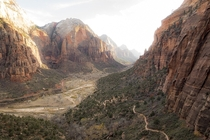 Some more Zion with hiking path for scale  x