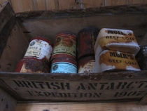 Some of Ernest Shackletons rations left over in his hut from the  polar expedition Antarctica