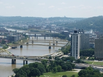 Some of the many bridges in Pittsburgh over the Allegheny River Names of the bridges inside