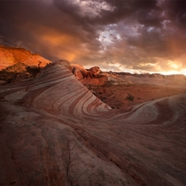 Some people go to Las Vegas for well Vegas haha I went for desert storms mixed with epic sunset light and the Fire Wave rock formation at Valley of Fire State Park Nevada by blazing_heavens