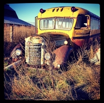 Some people were asking for a pic of the abandoned school bus that I mentioned is parked next to the abandoned schoolhouse I posted yesterday so here you go