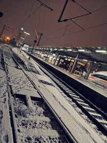 Some snow at the Stuttgart main station