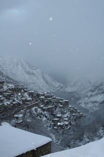 Some snowy Kurdish mountain village in Jwanro Kurdistan Hawraman Region Iran