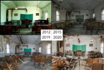 Someones been documenting the natural decay in this small abandoned church since  Not OC