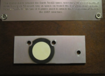 Something a bit different A clamp plate that spent time in orbit My grandpa was head of NASAs Applied Materials Branch At some point during his career he was given this You all might appreciate it Its a little hard to read the full text is in the comments