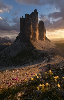 Sometimes you get really lucky with sunset light Tre Cime di Lavaredo Italy