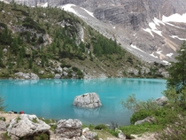 Sorapis Lake in the Dolomites Italy