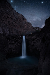 Sorry guys I became a sellout and went to Havasupai Caught some early season Milky Way over Mooney Falls  andrewsantiago_