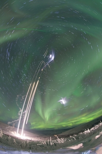Sounding Rockets Launch Into an Aurora - Composite shot of all four sounding rockets for the M-TeX and MIST experiments