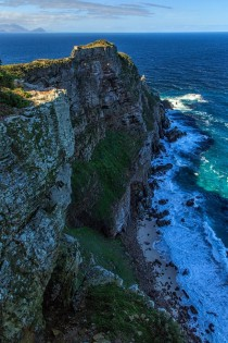 South Africas landscapes were amazing - here are the cliffs of Cape Point jutting out into the ocean