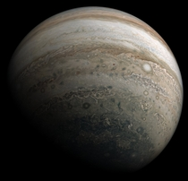 Southern fisheye view of Jupiter processed using Juno imagery from November ths Perijove