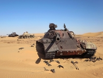 Soviet-era T- tanks in the Libyan Sahara Photo David Stanley
