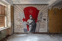 Soviet mural painting in an abandoned flying school