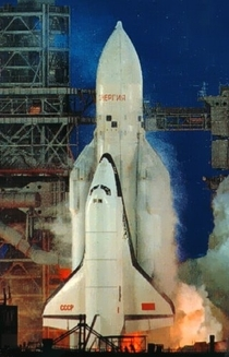 Soviet Russian Buran shuttle on its first and only launch  November