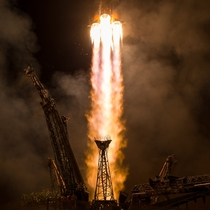 Soyuz MS- spacecraft launches with Expedition  crewmembers Joe Acaba of NASA Alexander Misurkin of Roscosmos and Mark Vande Hei of NASA from the Baikonur Cosmodrome in Kazakhstan Wednesday Sept