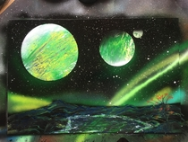 -SPAC- Spray Paint Art - Green alien world Picture OC