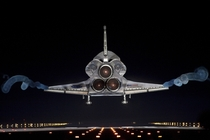 Space shuttle Atlantis lands on Runway  at the Kennedy Space Center completing the last space shuttle mission July