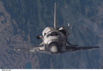 Space Shuttle Discovery over Switzerland