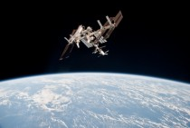 Space Shuttle Endeavour docked with the ISS during its last trip to the station on STS-