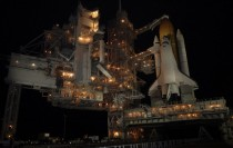 Space shuttle Endeavour is shown after rollback of the rotating service structure
