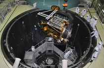 Space simulation chamber of the Indian space agency ISRO The spacecraft being lowered into it is the Mars orbiter which will be launched on November
