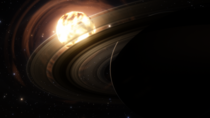 SpaceEngine Saturn under the red sun Earth is also in the picture